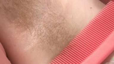 Hairy Teen Cyan Combs Pubes