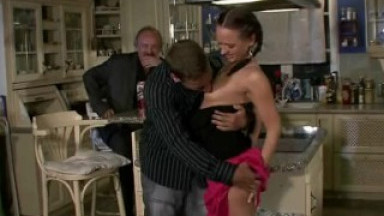 Bitchy wife getting fucked on the table