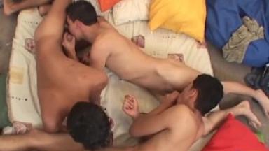 Young Latino Threesome Bareback Spit Roast
