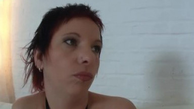 redhead German slut milf casting masturbation huge dildo fuck