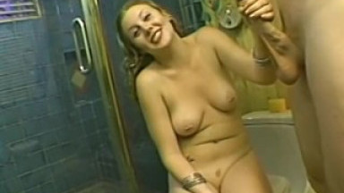 Amateur handjob in the bathroom