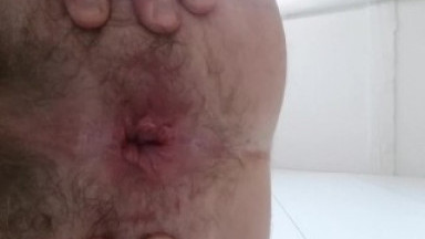 Gl-ass fuck - watch my anus stretch thru a huge glass dildo - straight guy