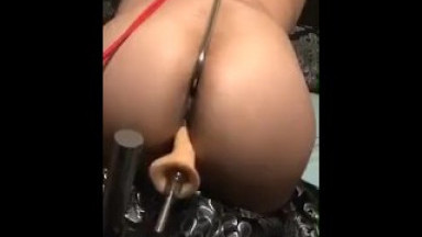 Hot MILF trying out her anal hook with some rope BDSM