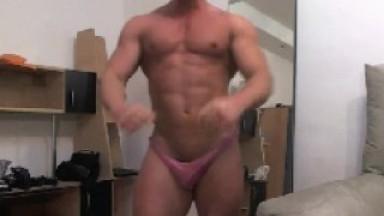 Muscle Jock Jerks Off on Webcam